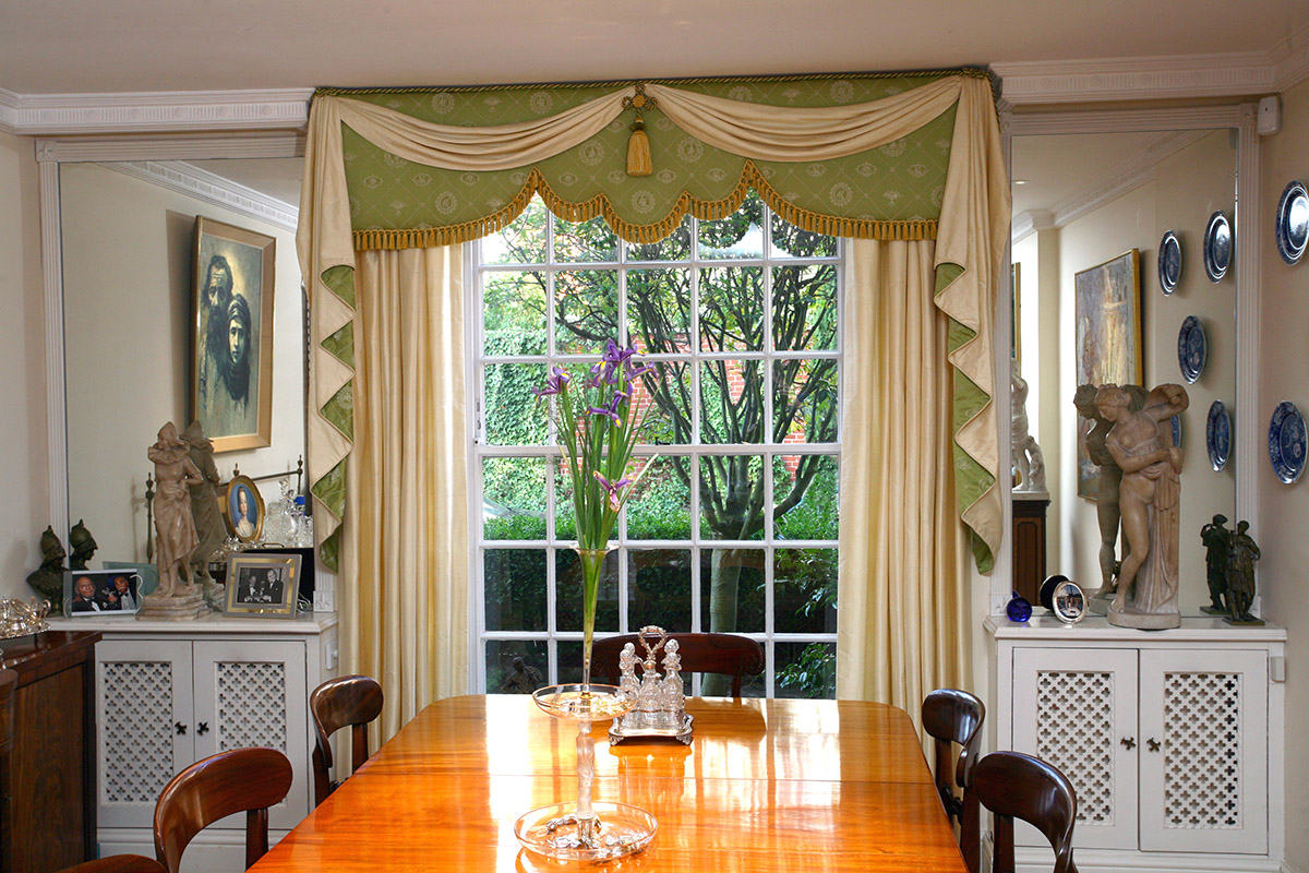Curtains; Curtain design; Handmade curtains; Bespoke curtains;      Pelmets; Box pelmets; Gathered Pelmets; Draped pelmets: Swags and Tails; Curved pelmets; Flat pelmets